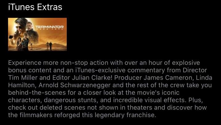 Terminator Dark Fate itunes Extras
