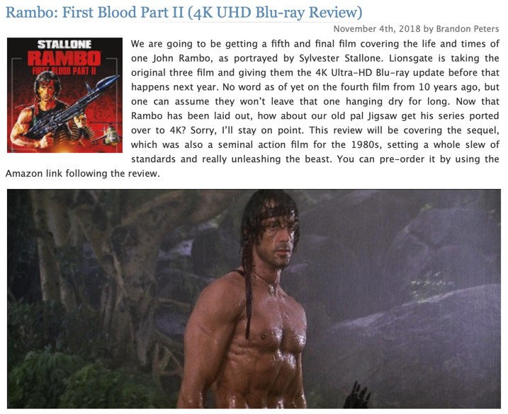 Rambo First Blood Part 2 4K Review